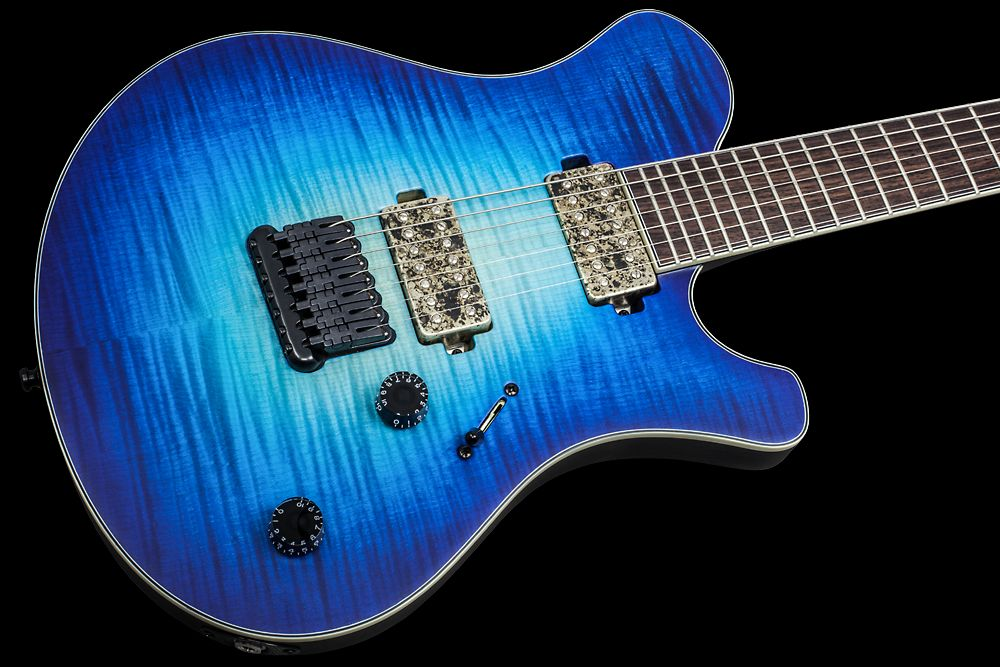 Mayones Legend 7 F24 HH Flamed Maple Custom Shop Trans NaturalFade Blue Burst Out Satine finish Hannes bridge Bare Knuckle Aftermath Camo pickups