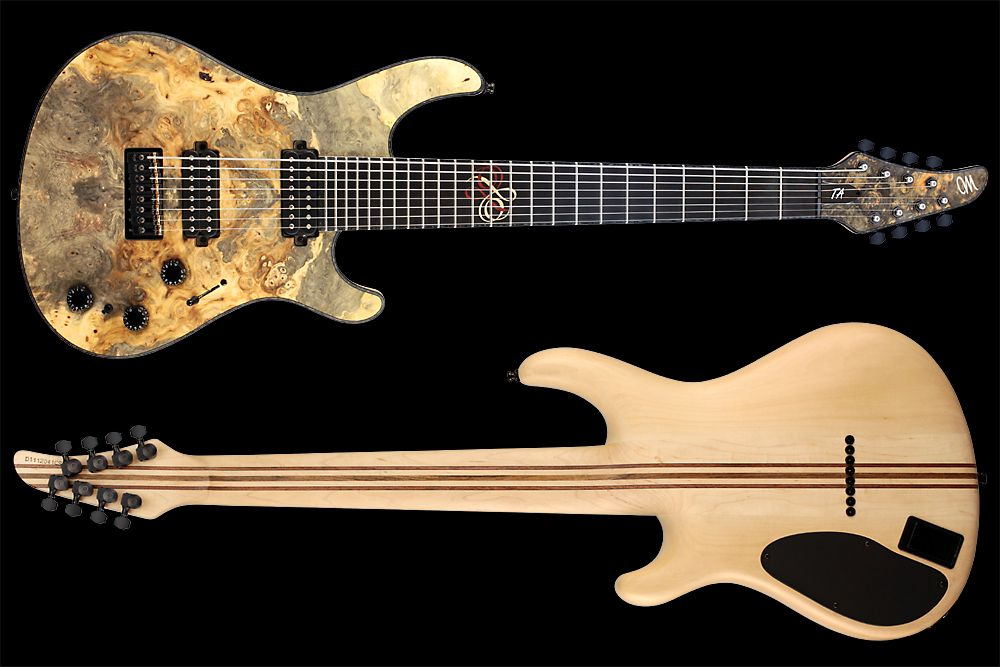 Mayones Regius 8 TA Piezo Buckeye Burl - Master Builder Collection 2012 - front & back