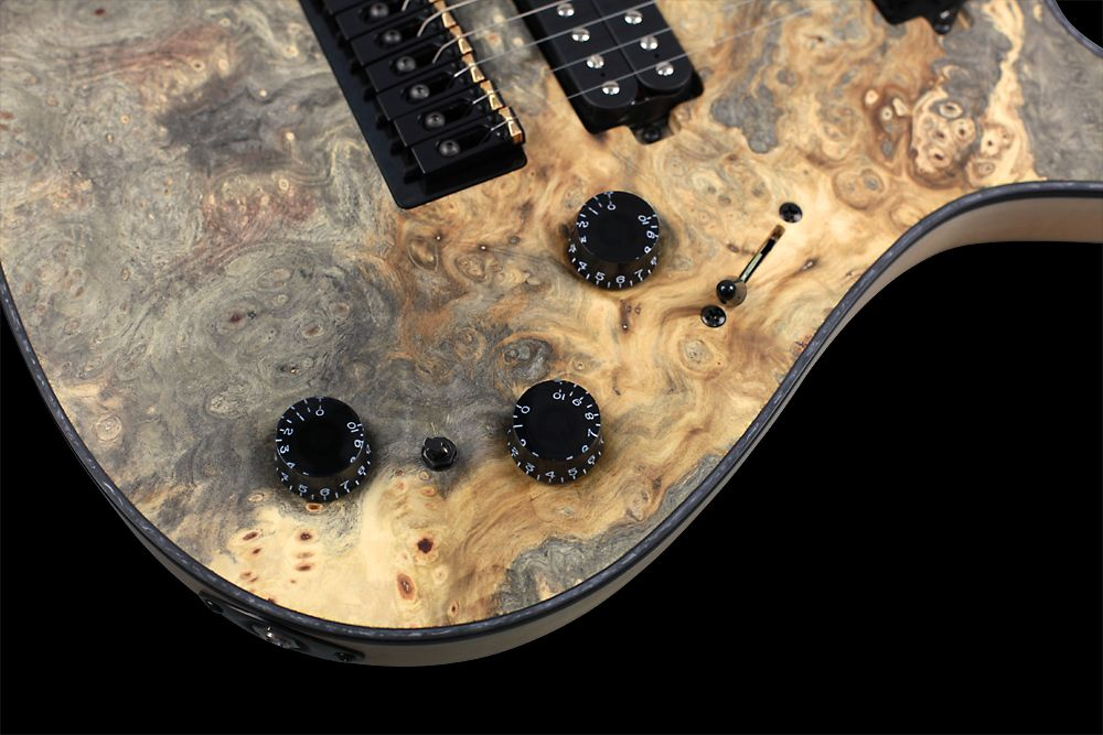 Mayones Regius 8 TA Piezo Buckeye Burl - Master Builder Collection 2012 - Volume, Piezo Volume, Master Tone, 3-way lever switch, 3-positon mode mini switch, Speed type knobs
