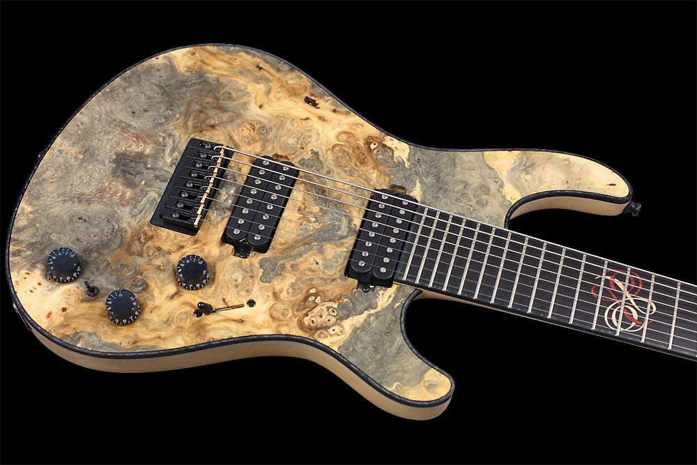 Mayones Regius 8 TA Piezo Buckeye Burl - Master Builder Collection 2012 - 3-ply Black ABS / Black Pearloid binding (body, fingerboard, head)