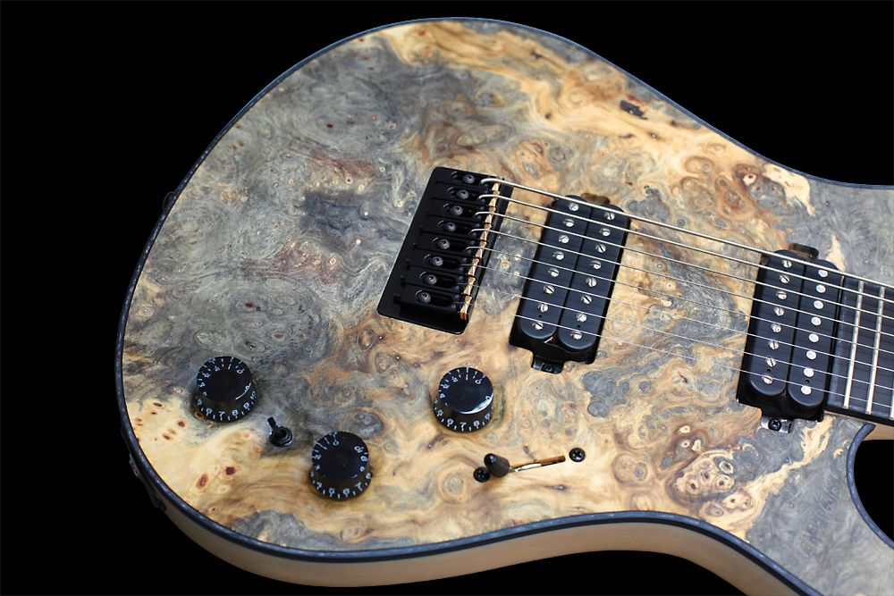 Mayones Regius 8 TA Piezo Buckeye Burl - Master Builder Collection 2012 - Slightly slanted body top on both sides