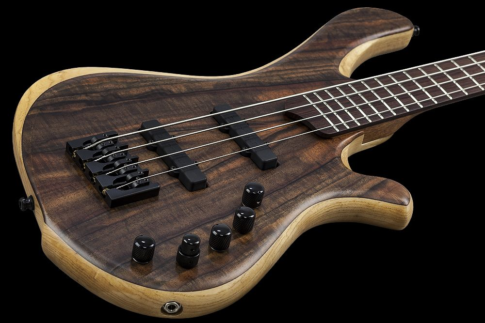 Mayones BE 4 Elite Walnut Claro - Master Builder Collection 2015 - Claro Walnut top, Profiled Swamp Ash body back, Wenge middle, Rosewood fretboard, Two additional graphite rods, 5-ply Mahogany/Maple bolt-on neck