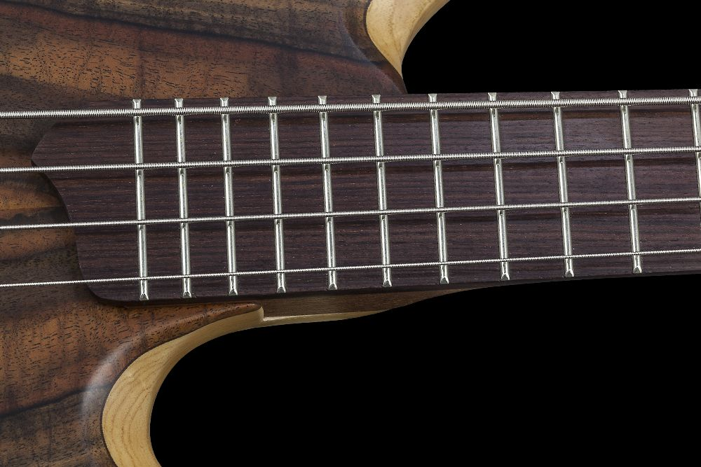 Mayones BE 4 Elite Walnut Claro - Master Builder Collection 2015 - Rosewood fingerboard, Two additional graphite rods, Ferd Wagner 24 jumbo 18% Nickel-Silver Hard frets, side dot markers only
