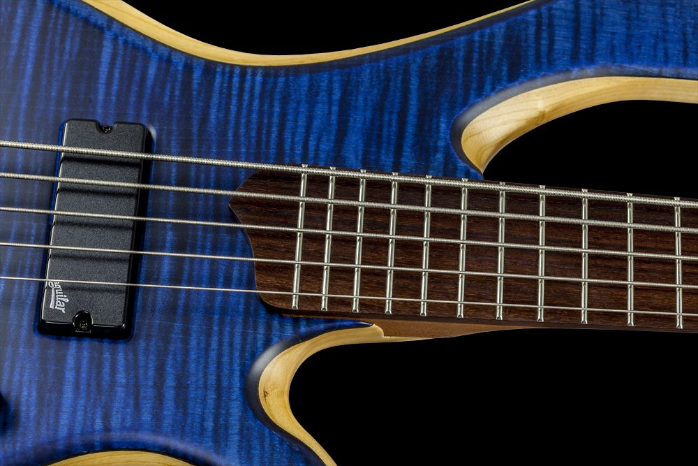 Mayones BE 5 Elite FM Custom Shop Flamed Maple 3A Trans Dirty Blue Satine finish Aguilar DCB G4 Soapbar pickups Mayones M-BP3 3-band EQ preamp Hipshot 5A500-BR-BLK-669 bridge