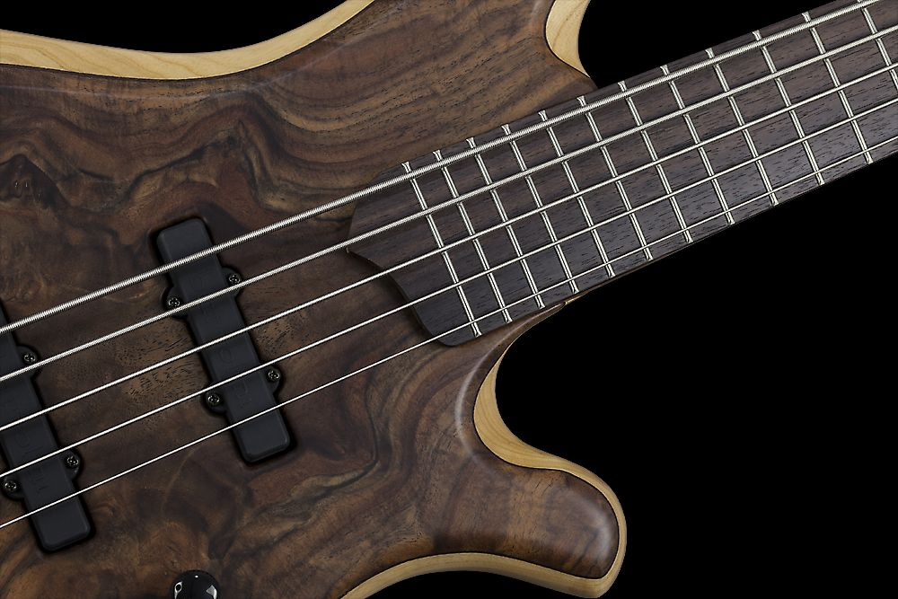 Mayones BE 5 Elite Walnut Claro - Master Builder Collection 2015 - Rosewood fingerboard, Two additional graphite rods, Ferd Wagner 24 jumbo 18% Nickel-Silver Hard frets, side dot markers only
