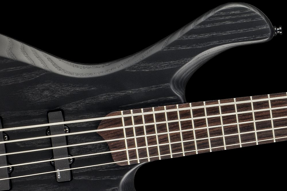 Mayones BE 5 Gothic Custom Shop Swamp Ash Monolith Black Matte finish EMG JJ Active pickups Mayones M-BP3 3-band EQ preamp WSC De Luxe Bass bridge WSC De Luxe Mini tuners