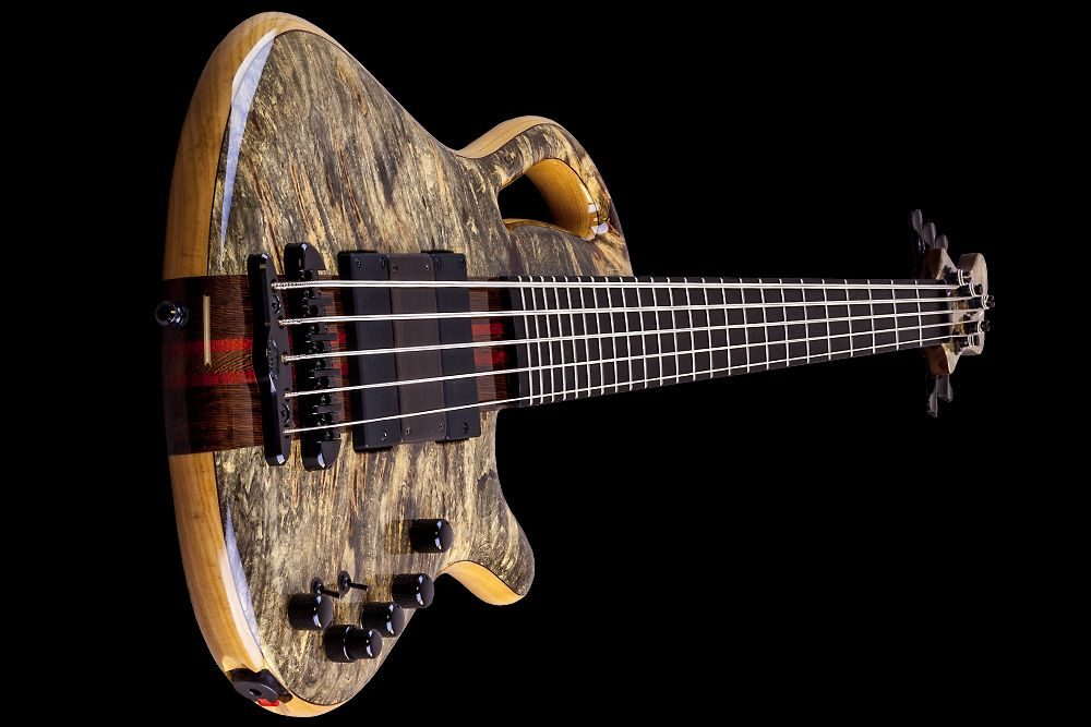 Mayones Caledonius 5 Custom Shop Buckeye Burl Trans Natural Gloss finish Ebony 24 fret fingerboard Bartolini 72M45C-T/B pickups Wooden ramp Mayones M-BP3 3-band EQ preamp Mayones X-25 bridge Schaller M4 3+2 tuner