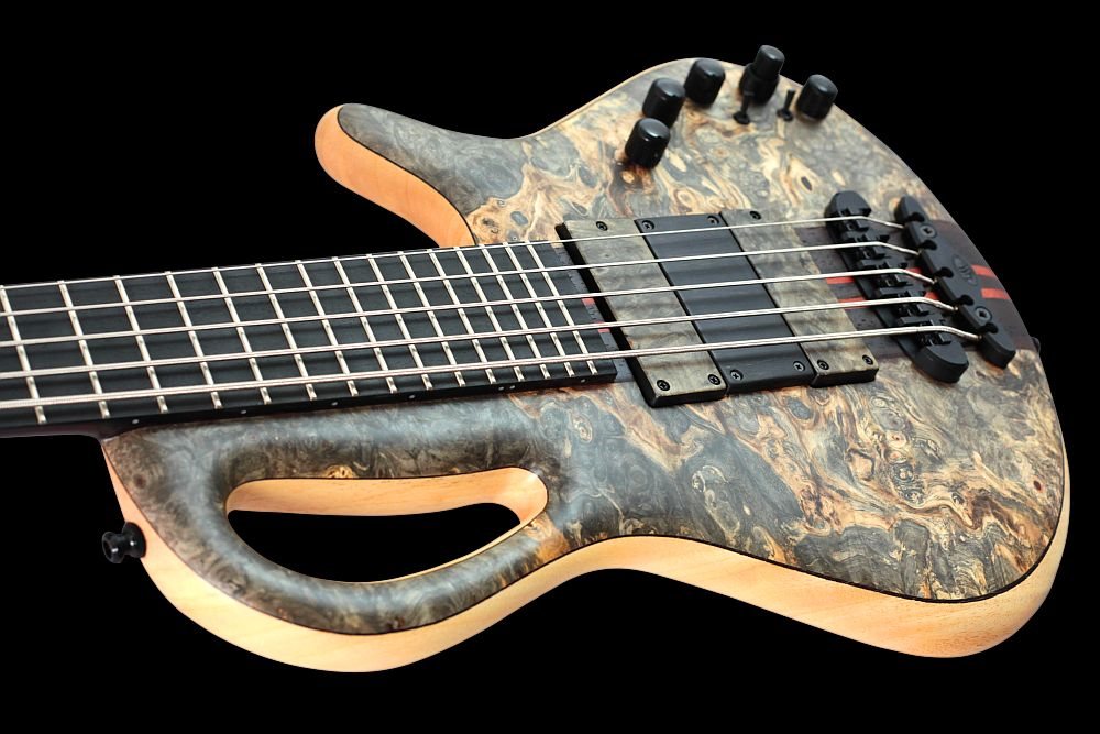 Mayones Caledonius 5 Buckeye Burl - Master Builder Collection 2011 - Buckeye Burl top, Samba wood body back & Wenge middle, Ebony fretboard, 5-ply Wenge/Padouk neck-thru-body section