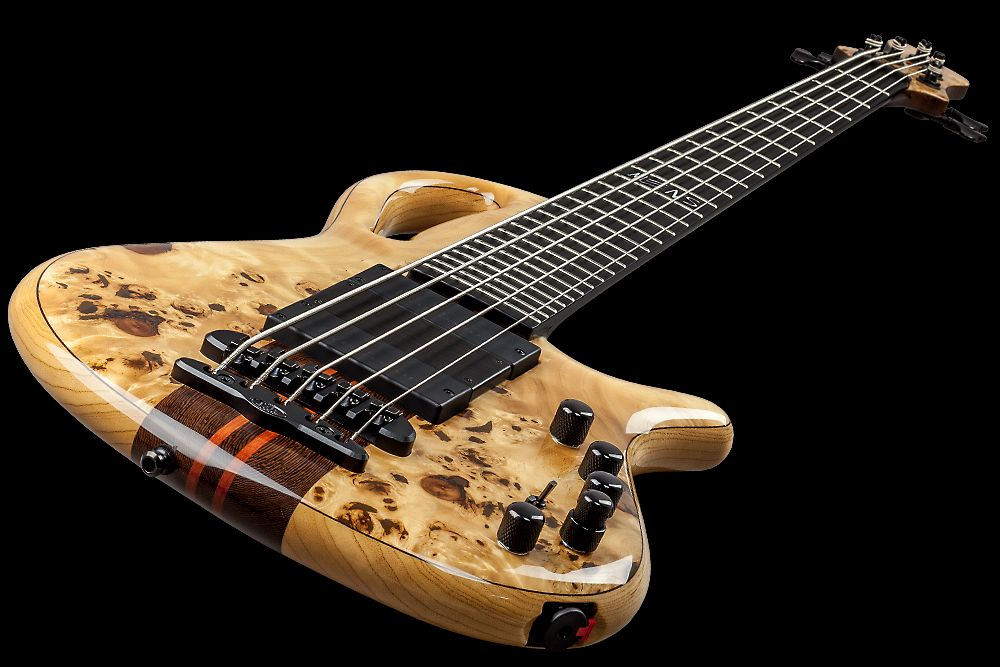 Mayones Caledonius 5 Custom Shop Eye Poplar Trans Natural Gloss finish Bartolini 72M45C-T/B pickups Aguilar OBP-3 preamp Mayones X-25 bridge Schaller M4 3+2 tuners Custom Inlay