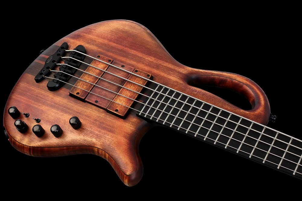 Mayones Caledonius 5 Custom Spruce Antique Brown Oil - Master Builder Collection 2013 - curved and carved body shape