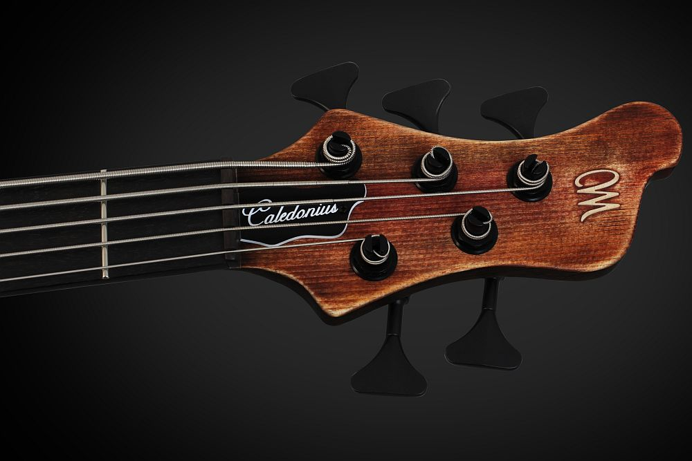 Mayones Caledonius 5 Custom Spruce Antique Brown Oil - Master Builder Collection 2013 - Ebony nut, Hipshot HB6Y Ultralite tuners