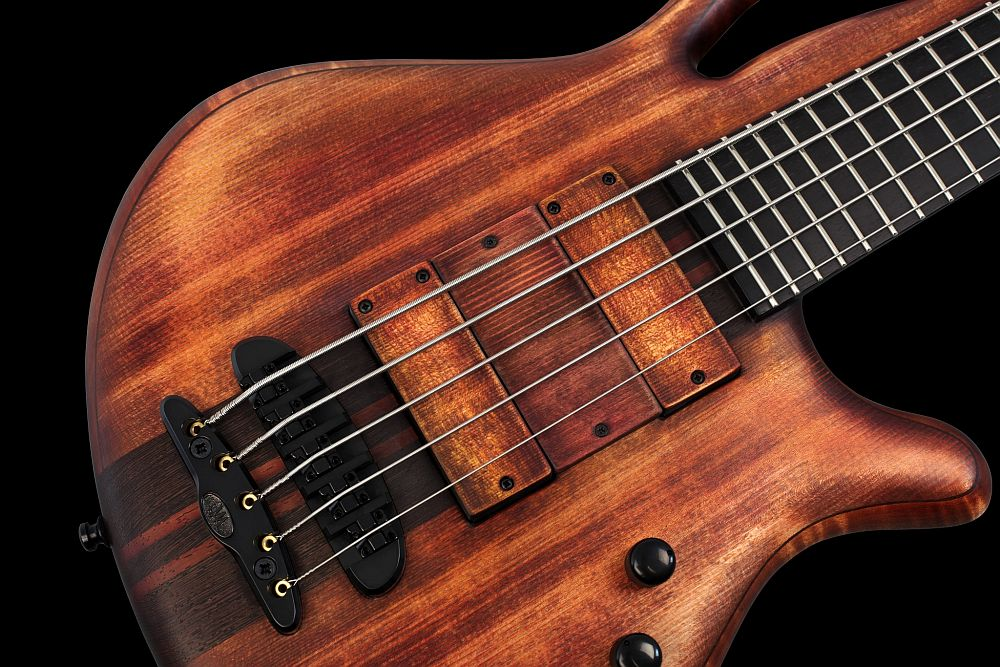 Mayones Caledonius 5 Custom Spruce Antique Brown Oil - Master Builder Collection 2013 - Custom Spruce Antique Brown Oil top, Profiled Flamed Maple body back & Wenge middle, Ebony fretboard, 5-ply Wenge/Padouk neck-thru-body section