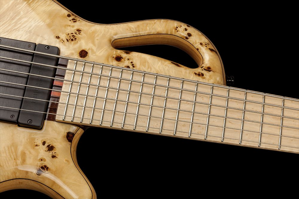 Mayones Caledonius 6 Custom Shop Eye Poplar Trans Natural Gloss finish Birdseye Maple fretboard Bartolini xxP46C-T/B pickups Wooden ramp Mayones M-BP3 3-band EQ preamp Mayones X-26 bridge Schaller M4 3+3 tuners