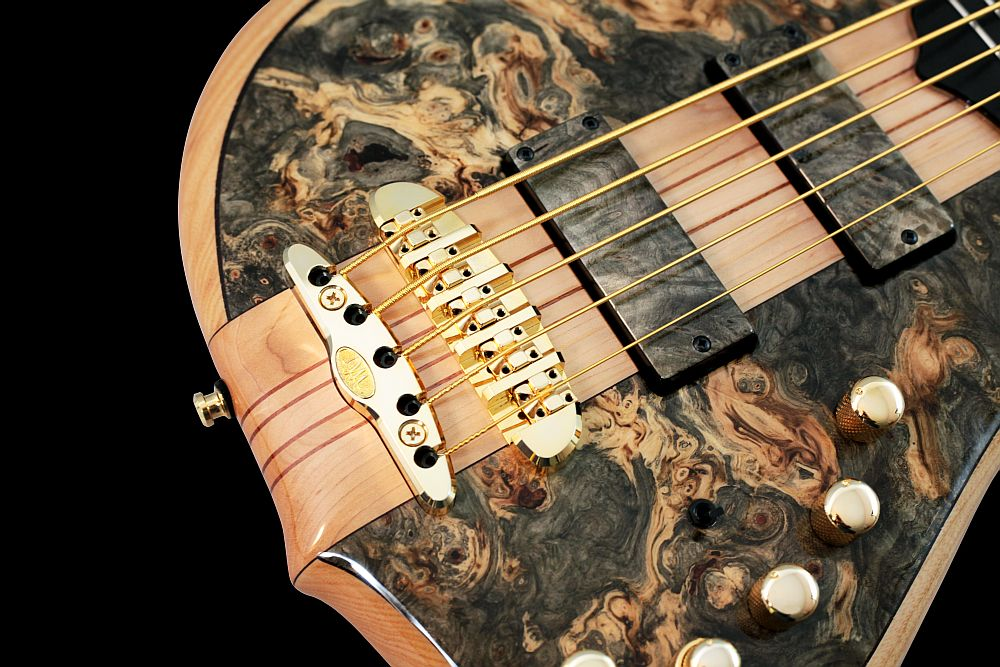 Mayones Comodous 5 Buckeye Burl - Master Builder Collection 2011 - Mayones X-25 two-piece bridge (CNC-routed from a solid block of brass)