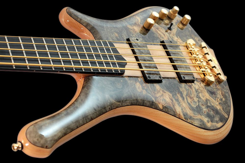 Mayones Comodous 5 Buckeye Burl - Master Builder Collection 2011 - Ebony fingerboard, Ferd Wagner 24 jumbo 18% Nickel-Silver Hard frets, side dot markers only