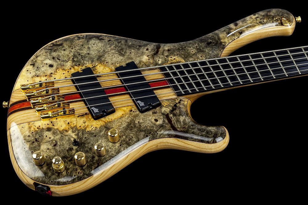 Mayones Custom Pi 5 V•Frets Multiscale Custom Shop Buckeye Burl top Trans Natural Gloss finish Swamp Ash body wings Ebony fretboard Aguilar DCB G5 Soapbar pickups Aguilar OBP-3 preamp ABM 3710 mono rails bridge Schaller M4 mini tuners