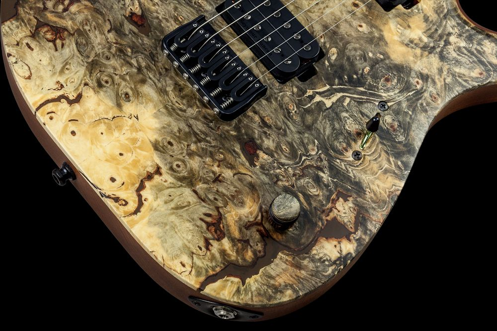 Mayones Duvell 6 Buckeye Burl - Master Builder Collection 2016 - Volume (push-pull for coil splitting) control only, 3-way lever switch, Mayones Custom Shop wooden knob