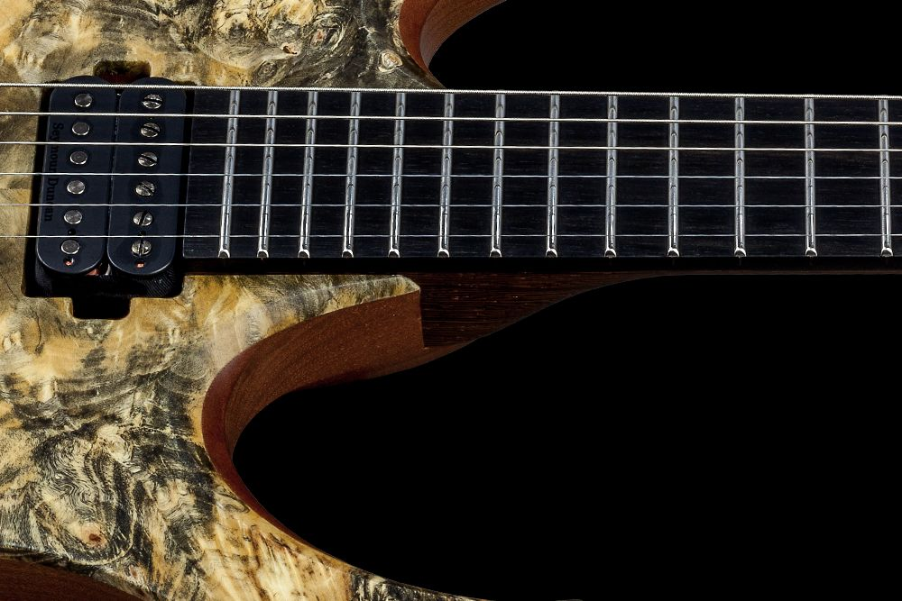 Mayones Duvell 6 Buckeye Burl - Master Builder Collection 2016 - Ebony fingerboard, Ferd Wagner 24 extra jumbo Stainless Steel frets