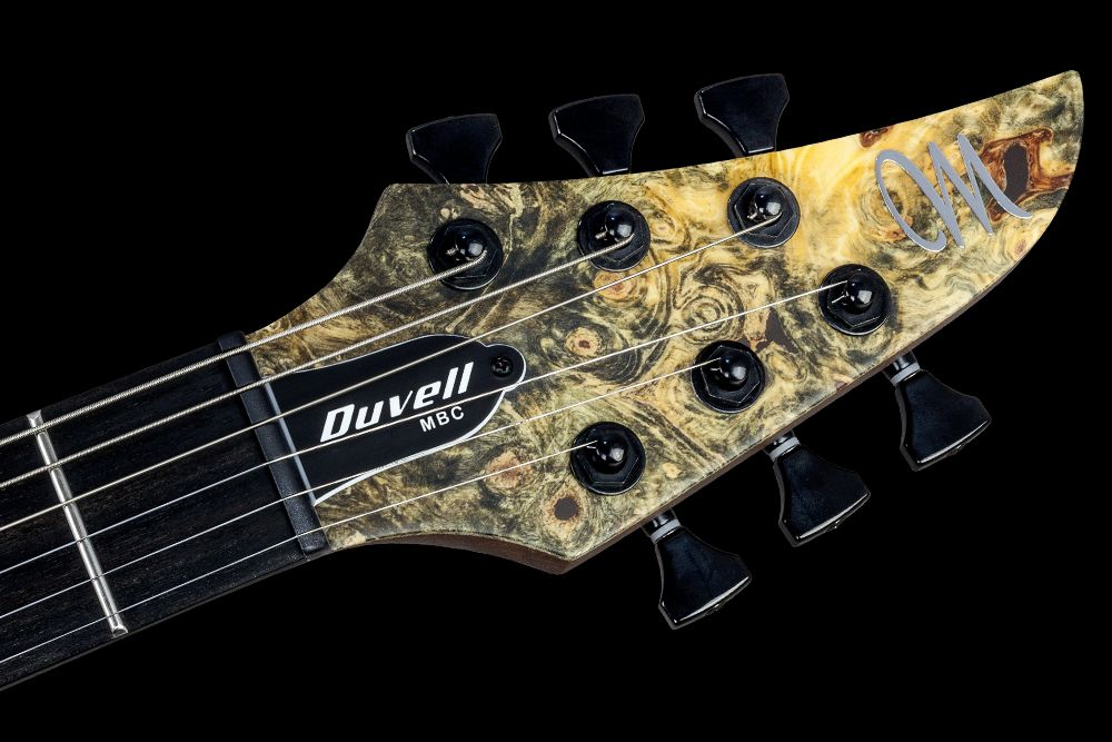 Mayones Duvell 6 Buckeye Burl - Master Builder Collection 2016 - head - Graph Tech Black Tusq nut and Hipshot Grip-Lock locking tuners