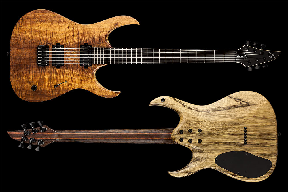 Mayones Duvell 6 Elite Limited Edition Flamed Koa 3A top Trans Natural Satine finish Black Korina body Seymour Duncan Nazgul & Sentient pickups