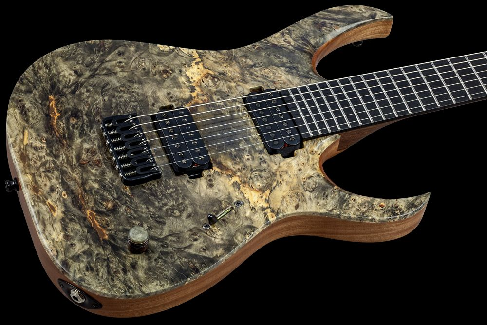 Mayones Duvell 7 Buckeye Burl - Master Builder Collection 2016 - Buckeye Burl top, Mahogany Sapele body back, 5-ply Wenge/Bubinga bolt-on neck, Ebony fingerboard