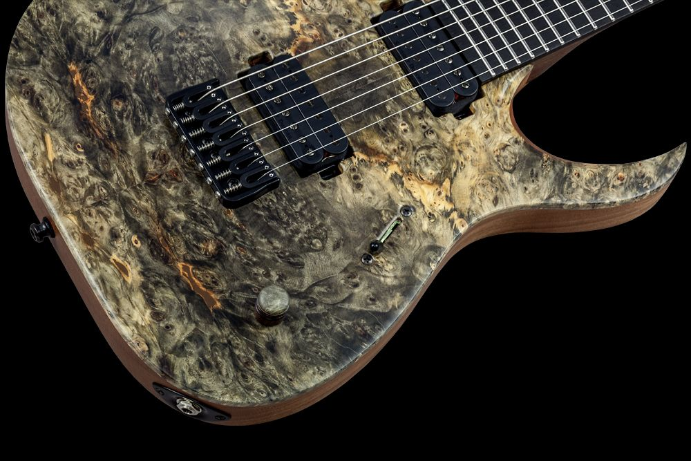Mayones Duvell 7 Buckeye Burl - Master Builder Collection 2016 - Volume (push-pull for coil splitting) control only, 3-way lever switch, Mayones Custom Shop wooden knob