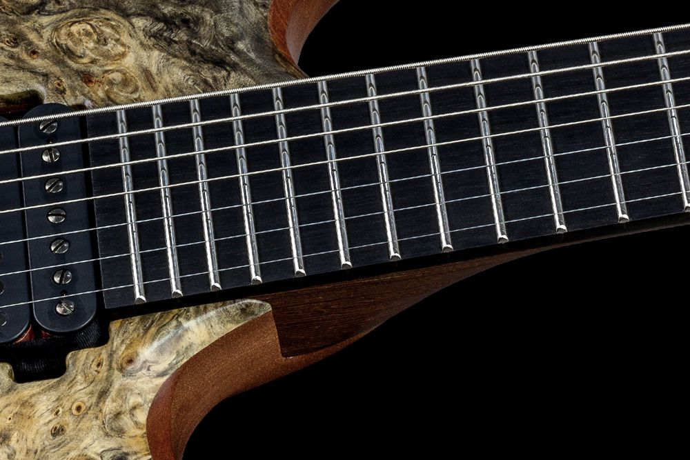Mayones Duvell 7 Buckeye Burl - Master Builder Collection 2016 - Ebony fingerboard, Ferd Wagner 24 extra jumbo Stainless Steel frets