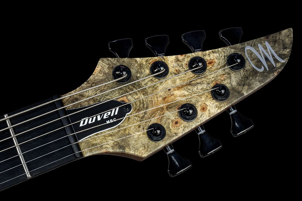 Mayones Duvell 7 Buckeye Burl - Master Builder Collection 2016 - head - Graph Tech Black Tusq nut and Hipshot Grip-Lock locking tuners