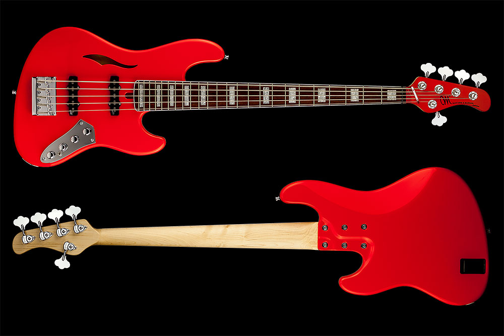 Mayones Jabba 5 Classic Semi-Hollow Custom Shop Monolith Vintage Candy Red Gloss Aguilar 5J-70 single coil pickups Mayones M-BP2 preamp Hipshot HB6C Ultralite tuners