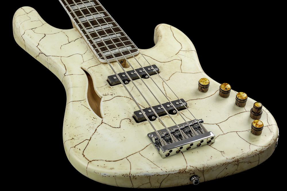 Mayones Jabba 5 Classic Semi-Hollow Angel White - Master Builder Collection 2016 - Semi-hollow construction with 2 connected tone chambers