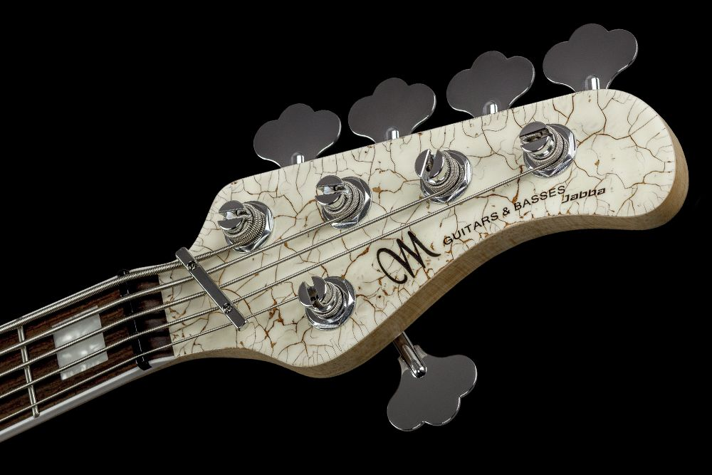 Mayones Jabba 5 Classic Semi-Hollow Angel White - Master Builder Collection 2016 - Straight headstock, Graph Tech Black Tusq nut, Hipshot HB6C Ultralite Tuners