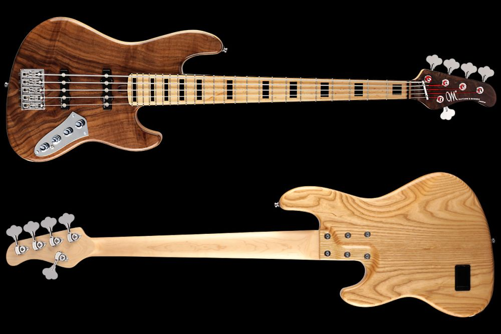 Mayones Jabba 5 Custom Walnut Claro - Master Builder Collection 2012 - front & back