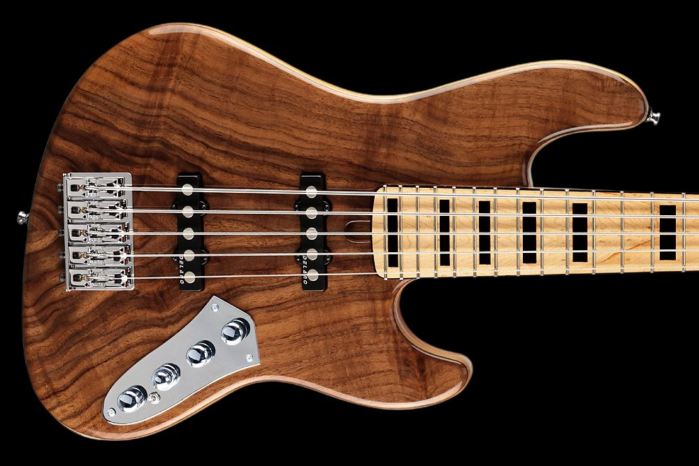 Mayones Jabba 5 Custom Walnut Claro - Master Builder Collection 2012 - Walnut Claro top, Profiled Ash body back, Birdseye Maple fretboard, 1-pcs Hard Rock Maple bolt-on