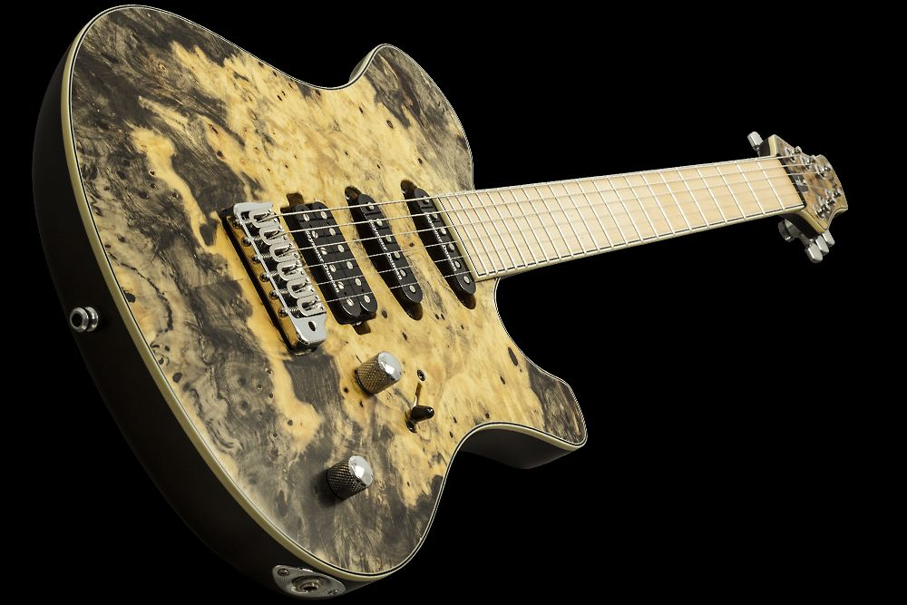 Mayones Legend V22 HSS Buckeye Burl Custom Shop Trans Natural Satine finish Seymour Duncan SH-4/SSL-1/SSL-1 pickups