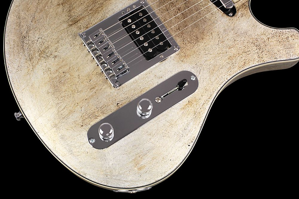 Mayones Legend T Aged Silver - Master Builder Collection 2012 - fixed strings-thru-body bridge, H-S Seymour Duncan pickup configuration, Volume+Tone control, 3-way slide switch