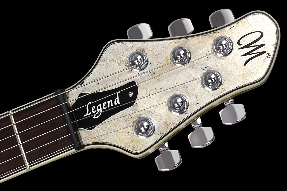 Mayones Legend T Aged Silver - Master Builder Collection 2012 - head - Graph Tech Black Tusq nut and Schaller locking tuners