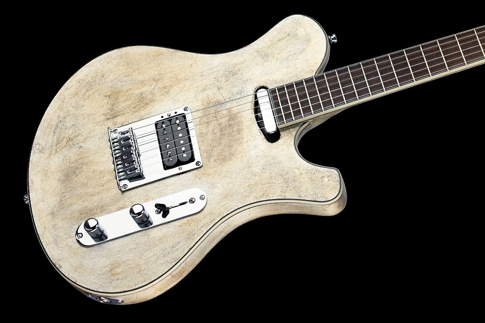 Mayones Legend T Aged Silver - Master Builder Collection 2012 - 3-ply ABS binding (body, fingerboard, head)