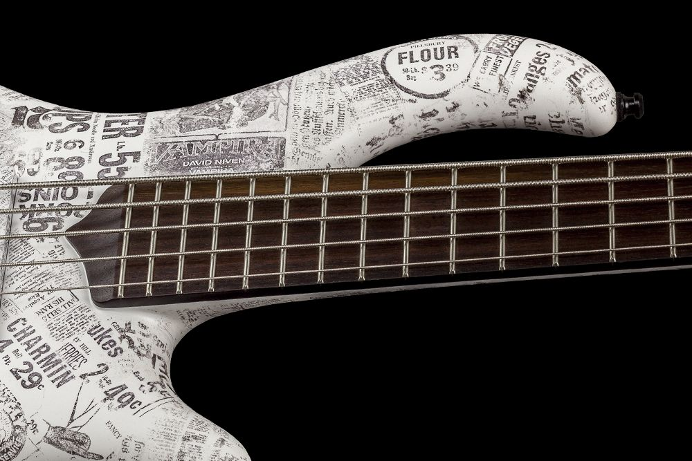 Mayones Patriot 5 Custom Paper Stamp - Master Builder Collection 2016 - Rosewood fingerboard, two additional graphite rods, Ferd Wagner 24 jumbo 18% Nickel-Silver Hard frets, side dot markers only