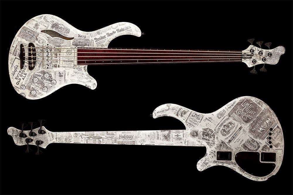 Mayones Patriot 5 MR Fretless Piezo Paper Stamp - Master Builder Collection 2016 - front & back