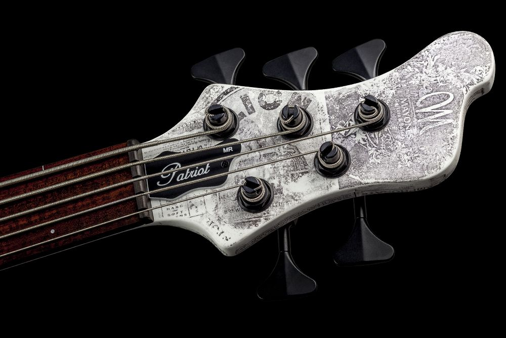 Mayones Patriot 5 MR Fretless Piezo Paper Stamp - Master Builder Collection 2016 - Ebony nut, Hipshot HB6Y Ultralite tuners