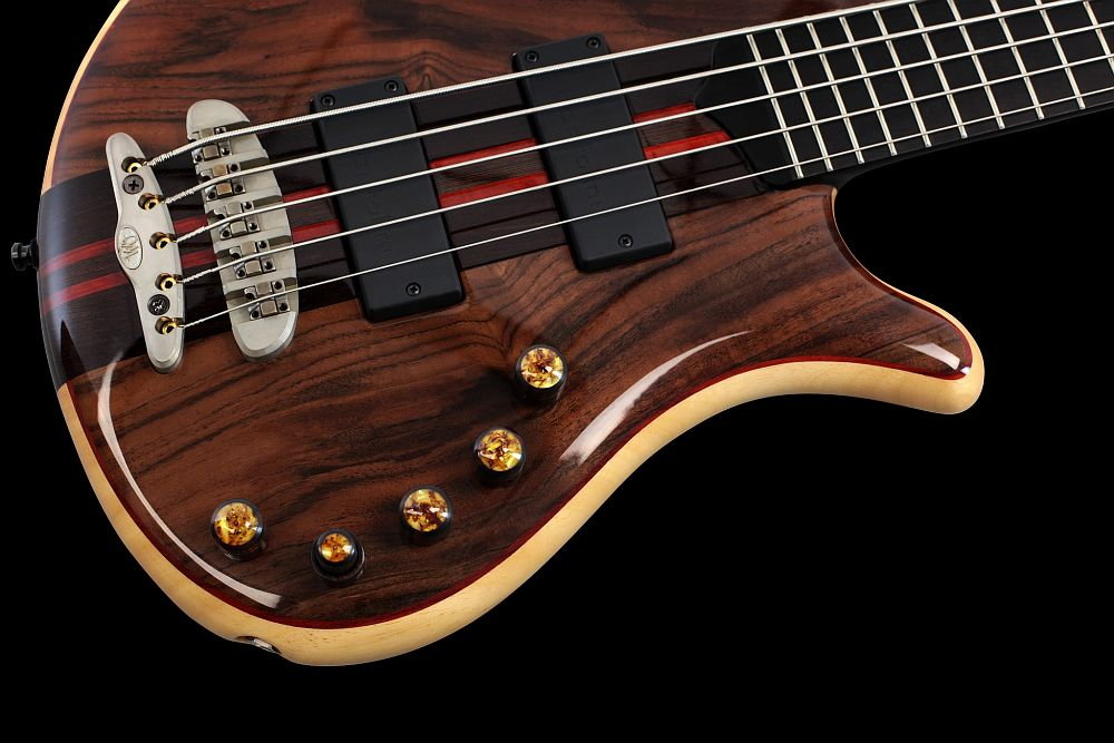 Mayones Patriot 5 Custom Walnut Claro - Master Builder Collection 2013 - Mayones X-25 two-piece bridge (CNC-routed from a solid block of brass)