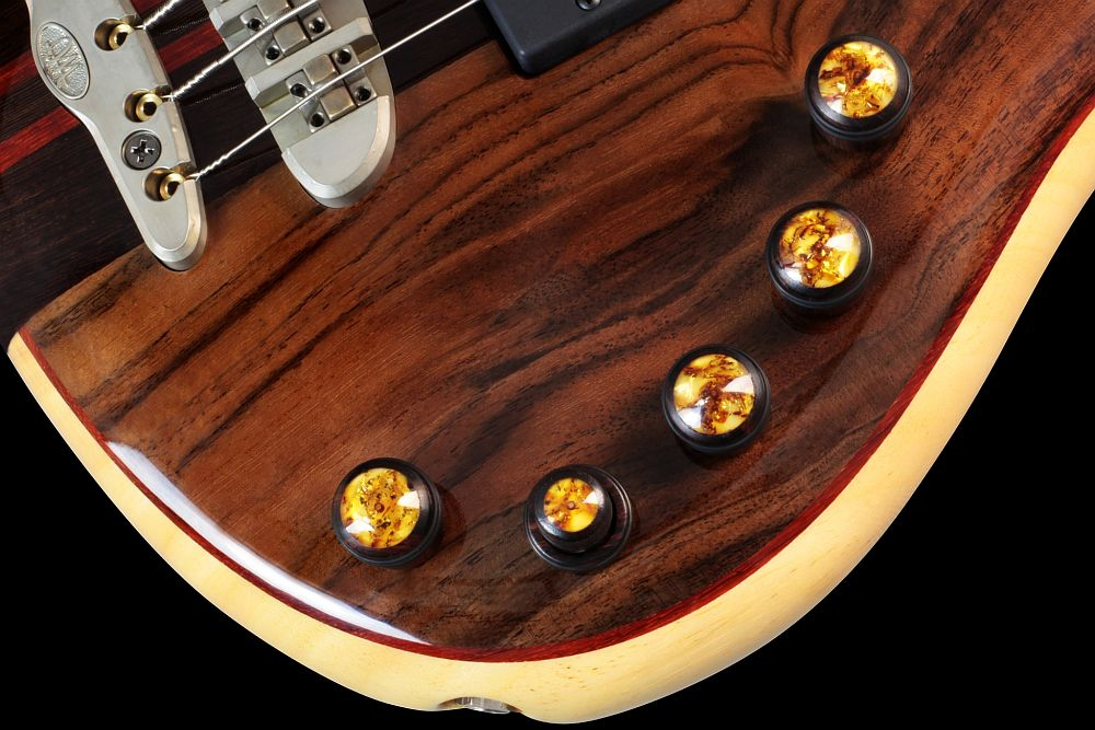 Mayones Patriot 5 Custom Walnut Claro - Master Builder Collection 2013 - Relic finish hardware and Mayones Custom Shop wooden knobs - Amber on Stacked Wenge Dome (option- extra fee required)
