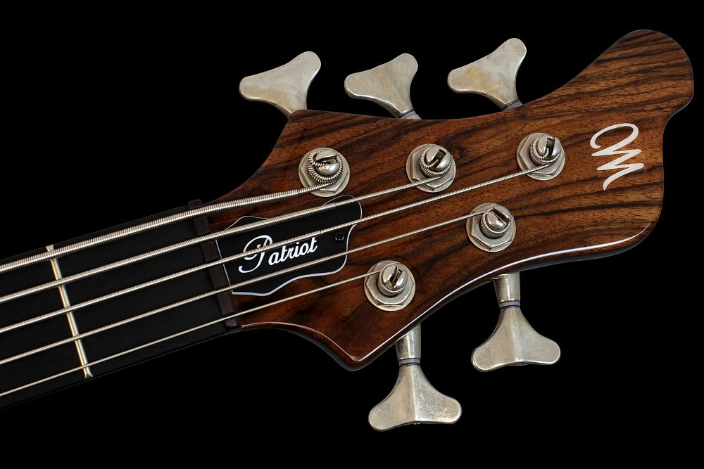 Mayones Patriot 5 Custom Walnut Claro - Master Builder Collection 2013 - Ebony nut, Mayones JB-15 relic finish tuners (option)