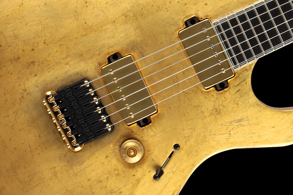 Mayones Regius 6 Aged Gold Satin finish - Master Builder Collection 2011 - Schaller Hannes fixed strings-thru-body bridge & Bare Knuckle VHII Humbucker Set