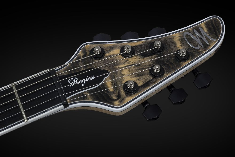 Mayones Regius 6 Douglas Fir - Master Builder Collection 2015 - head - Graph Tech Black Tusq nut and locking tuners