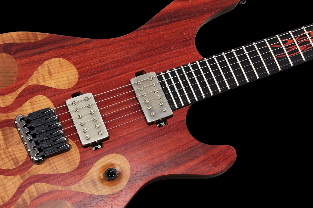 Mayones Regius 6 Flames - Master Builder Collection 2014 - Schaller Hannes fixed strings-thru-body bridge
