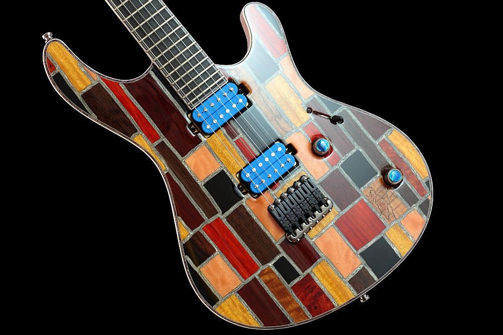 Mayones Regius 6 Mosaic Trans Natural Gloss finish - Master Builder Collection 2011 - unique mix of exotic and domestic species of wood ont the top with a 3-ply white ABS / gray Pearloid binding