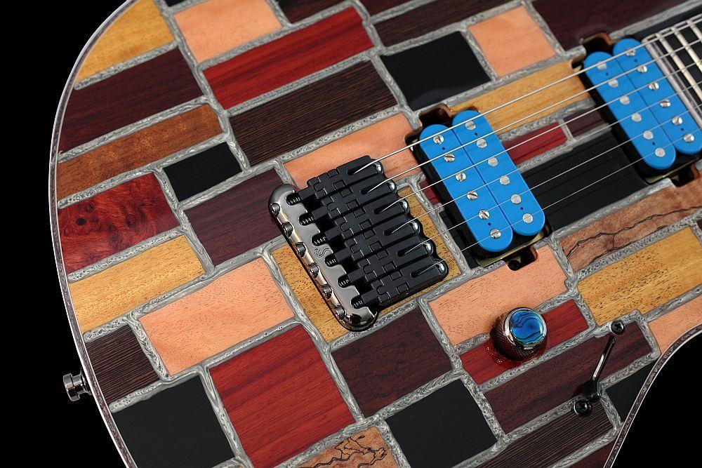 Mayones Regius 6 Mosaic Trans Natural Gloss finish - Master Builder Collection 2011 - Schaller Hannes fixed strings-thru-body bridge