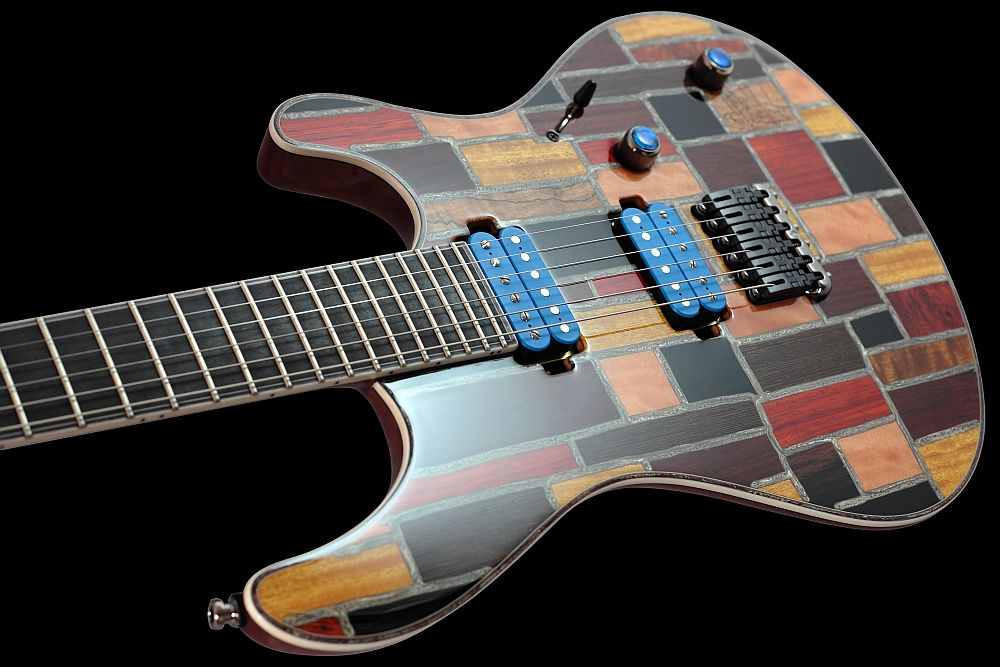 Mayones Regius 6 Mosaic Trans Natural Gloss finish - Master Builder Collection 2011 - slim contoured body
