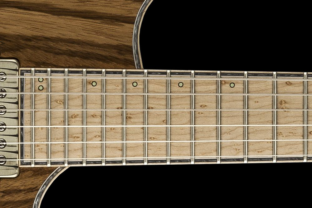 Mayones Regius 6 V24 Zebrawood - Master Builder Collection 2016 - Birdseye Maple fingerboard, 3-ply hybrid White ABS / Gray Pearloid / Flamed Maple binding (body, fingerboard, head), Luminlay Super Green SGM-23 offset front & side markers
